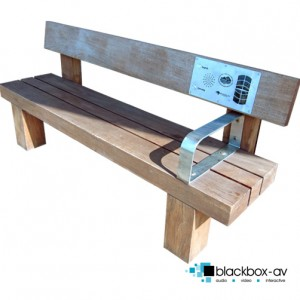 Solar powered oak audio bench