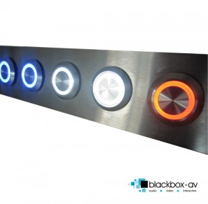 Illuminated buttons in brushed steel mounting