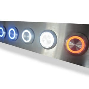 Illuminated Buttons within brushed steel unit